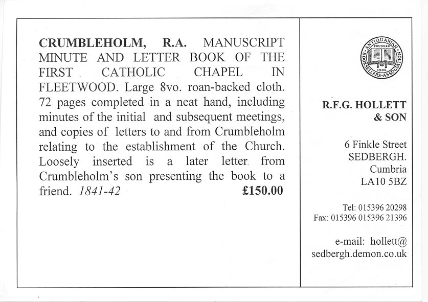 St Mary's 1841 Minute Book - sale notice